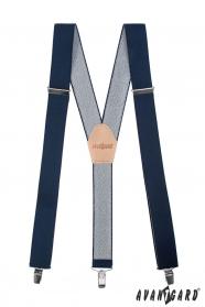 Tmavo modré traky Y s koženým stredom na klipy