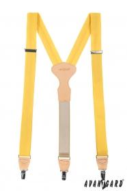 Žlté látkové traky trojbodové s béžovou kožou a zapínaním na klipy