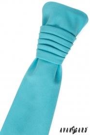 Francúzska kravata tyrkysová matná