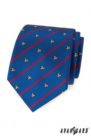 Modrá kravata futbal s červeným pruhom