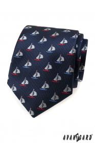 Modrá pánska kravata farebné plachetnice