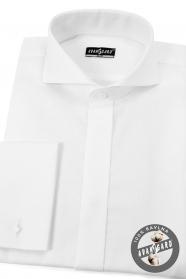 Pánska smokingová košeľa SLIM z bavlny - Biela