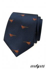 Modrá kravata so vzorom Bažant