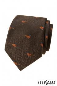 Hnedá kravata, vzor Bažant