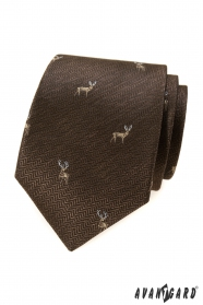 Hnedá kravata s jeleňom