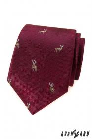 Bordó kravata s jeleňom