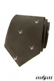 Zelená kravata s motívom letiaci kačica