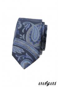 Modrá slim kravata s moderným vzorom