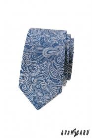 Modrá slim kravata s paisley vzorom