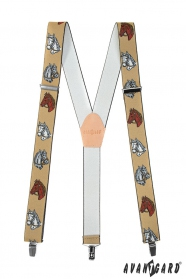 Pánske traky s motívom koňa béžová kože a zapínaním na kovové klipy