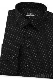 Čierna pánska košeľa SLIM biely vzor