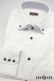 Snehovo biela košeľa slim s modrými doplnkami dlhý rukáv