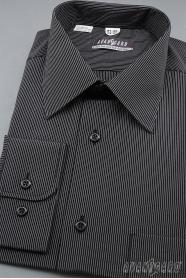 Pánska košeľa dlhý rukáv - Čierna s bielym prúžkom