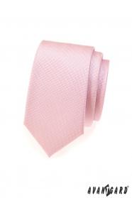 Ružová jemne štruktúrovaná SLIM kravata