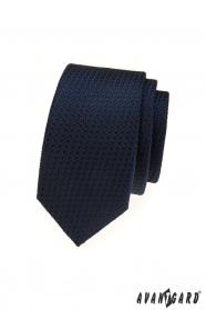 Modrá štruktúrovaná úzka kravata