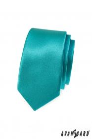 Úzka slim kravata tyrkysovej farby