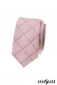 Úzka kravata púdrovo ružová so vzorom