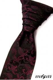 Čierna francúzska kravata s fuchsiovými ornamentami