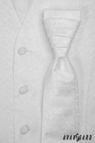Biela svadobná vesta s francúzskou kravatou