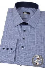 Modrá kockovaná slim košeľa dlhý rukáv