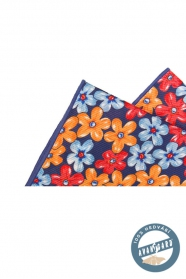 Kvetovaná vreckovka hodvábna modrá oranžová červená