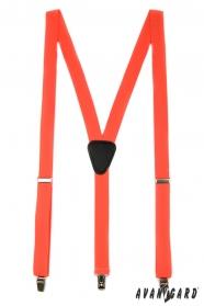 Oranžové traky Y s koženým stredom zapínaním na klipy