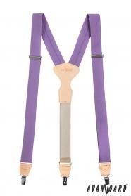 Látkové traky Y so zapínaním na klipy - 34 mm - lila, bežová koža
