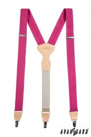 Fuchsiovej látkové traky s koženým stredom a zapínaním na klipy v darčekovom balení