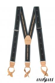 Šedé vzorované traky Y s béžovou kožou a koženými pútkami