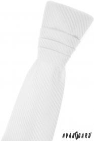 Biela chlapčenská francúzska kravata s diagonálnym prúžkom
