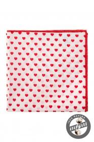 Biela vreckovka do saka - Červená srdce
