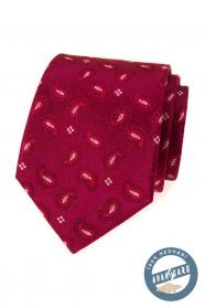 Hodvábna vzorovaná kravata vo farbe bordó