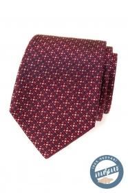 Červená hodvábna kravata s farebným vzorom