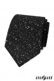 Čierna pánska kravata Noty