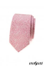 Púdrovo ružová slim kravata so vzorom Paisley