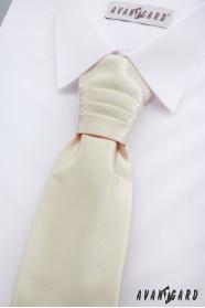 Francúzska chlapčenská kravata s vreckovkou v krémovej