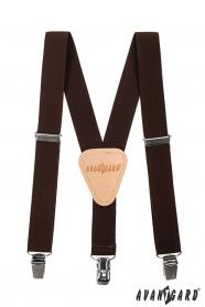 Hnedé chlapčenské traky s béžovou kožou a zapínaním na kovové klipy