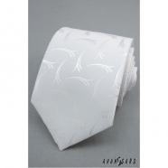 Pánska kravata LUX - Biela se vzorkem