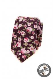 Úzka kravata s ružovými kvetmi