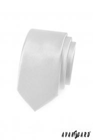Hladka biela slim kravata