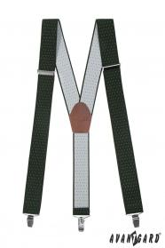 Pánske traky zelené s bielou bodkou hnedou kožou a kovovými klipy