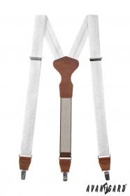 Látkové šle Y s koženým středem a zapínáním na klipy - 34 mm - v dárkovém balení - Bílá