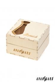 Drevená darčeková krabička na kravatu Ženích