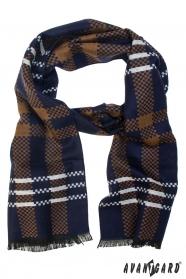 Modro-hnedý šál s bielym pruhom