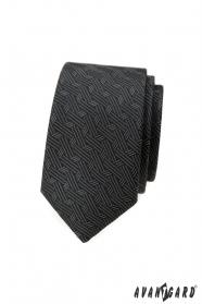 Tmavo šedá slim kravata s moderným vzorom