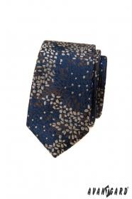 Modrá slim kravata sa farebným vzorom