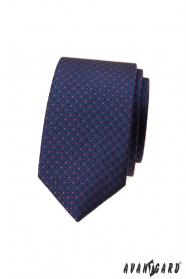 Tmavo modrá bodkovaná slim kravata