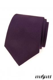 Tmavo fialová matná kravata
