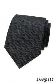 Šedá kravata s prepletenými prúžkami