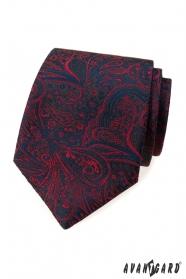Kravata s modro-červeným vzorom